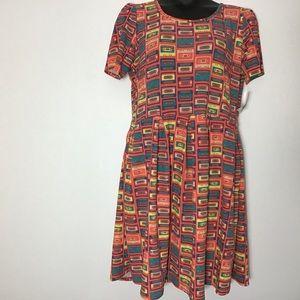 Amelia  3x Lula Roe peach cassette tape dress NWT